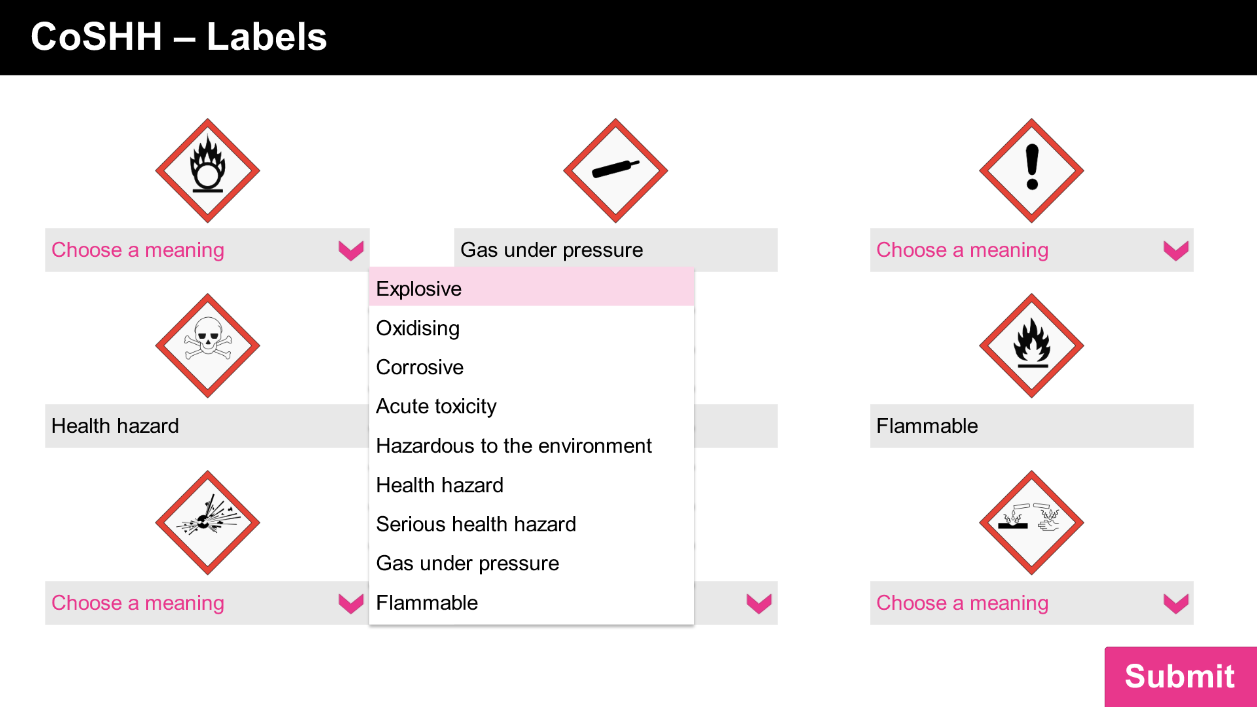 A screenshot from an e-learning training resource about hazardous substances